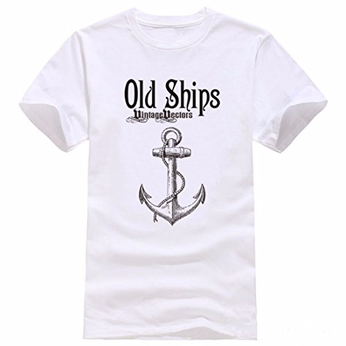 Men's Anchor Printed Short Sleeve Casual Cotton Tee Shirts white