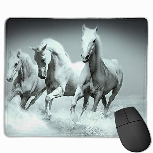 Three White Horse Non-Slip Rubber Mouse Mat Mouse Pad for Desktops, Computer, PC and Laptops 9.8 X 11.8 inch (25x30cm) -