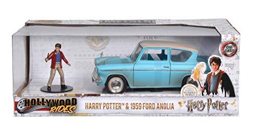 Dickie Toys 253185002 1959 Ford Anglia, fliegendes Auto, Cast-Fahrzeug, Potter Spielzeugauto Kinder, Freilauf, inkl. Harry Figur, blau