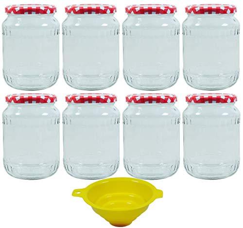 mikken 8X Einmachglas 720ml Einkochglas mit Schraubverschluss, inkl. Einmachtrichter