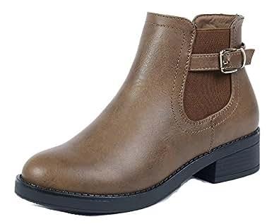 AgeeMi Shoes Women Chelsea Ankle Boots Block Heel Ankle Mid Heel Winter Booties,EuX15 Brown 35