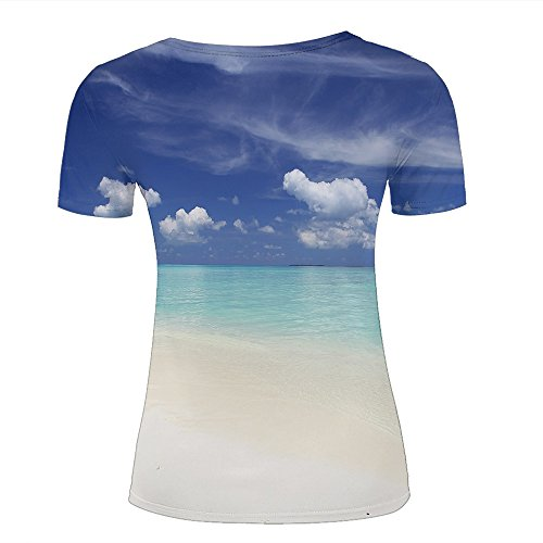 WEIYI BO Men T-Shirt 3D Digital Pinted Exotic Beach Sea Sky Crewneck Casual Tee Shirt Tops C