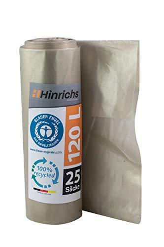 Sacs Poubelle 120 L Rouleau de 25 Sacs - extrêmement résistant - 70 µ - 700x1100 mm (Transparent)