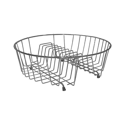 decorwelt | Abtropfgestell Rund 34 cm cm Silber Matt für Obst Teller Tassen Geschirrabtropfgestell Klein Geschirrabtropfer Geschirrtrockner Küche