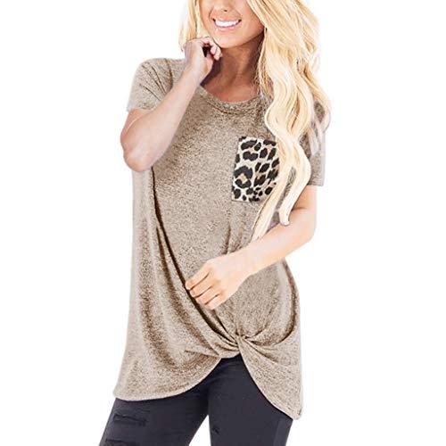 ESAILQ Frau Lässige Leopard Kurzarm O Hals Bluse Twist Geknotete Tops T-Shirt(Large,Khaki)