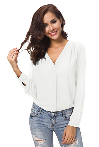 Urbancoco Damen V-Ausschnitt gekräuselten Schulter Langarm Lose Chiffon Blusen (XL, weiß) (V-ausschnitt Bluse Spitze)