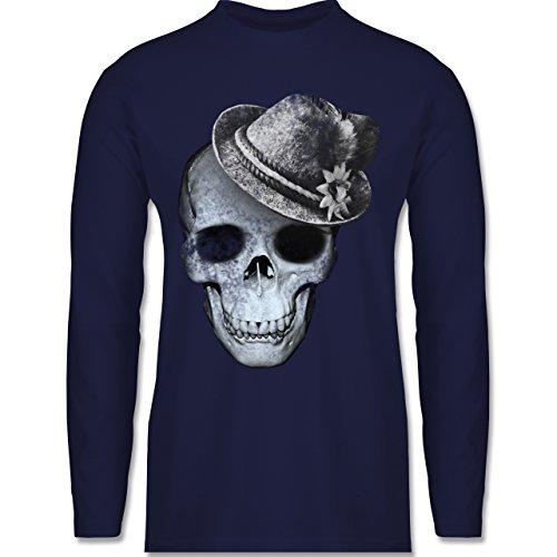 Oktoberfest Herren - Totenkopf mit Filzhut - Longsleeve / langärmeliges T-Shirt für Herren Navy Blau