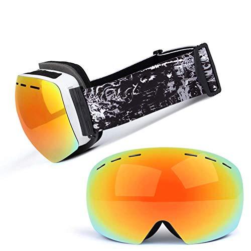 JXS-Goggles Skibrille, Doppelschichtlinse, Anti-Fog, Anti-UV, Schneesicher, Objektiv austauschbar, kann mit Myopie-Brillen verwendet Werden,D
