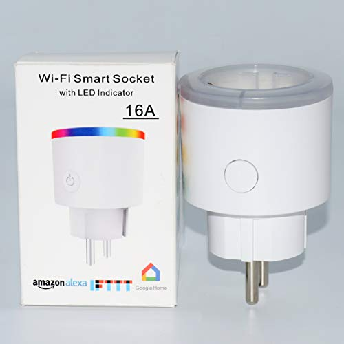 Smart WiFi Plug, RGB LED Colorful Light Socket Works mit Amazon Alexa (Echo und Echo Dot) Google Home und IFTTT Fernbedienung Timer Plug Switch No Hub Required (Weiß) -