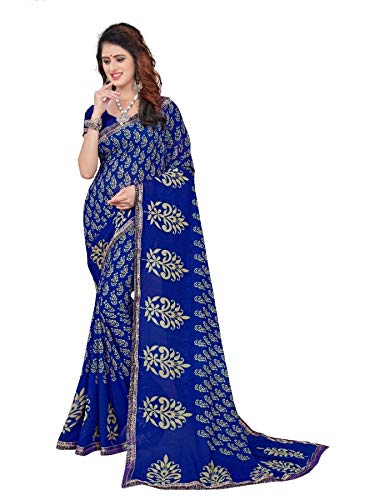 CRAFTSTRIBE Wedding Etnica Bollywood Saree Usura del Partito Blu Indiano Georgette Donne Sari