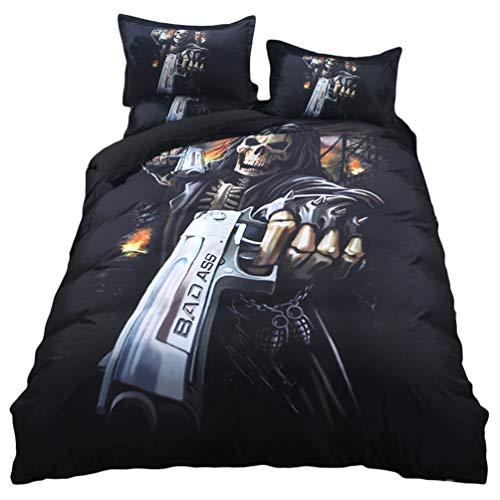 YOUJIAA Gemütlich Bettbezug Bettwäsche-Set mit passendem Kissenbezug für King/Queen/Doppel- / Full Size Bett (Gewehr #3PCS, 150 * 200cm) (Queen Bett Set Mit Bettbezug)