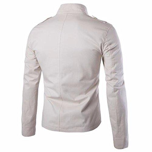 QIYUN.Z Männer Mode Stehkragen Einfache Ladung Manteljacke Cremefarbig