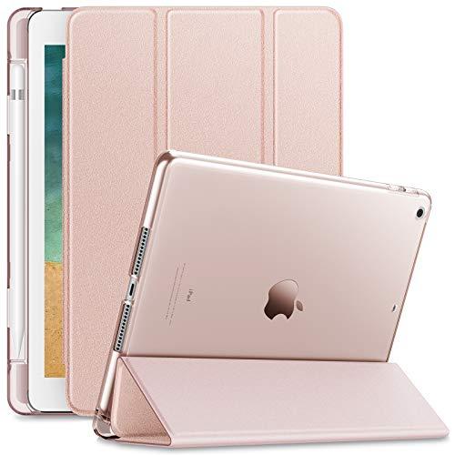 Infiland iPad 9.7 2018 Hülle Case mit Pencil Halter, Superleicht Transluzent Smart Schutzhülle Case mit Auto Schlaf/Wach Funktion für iPad 9.7 2018 (Nicht enthalten Apple Pencil),Rosa Goldene