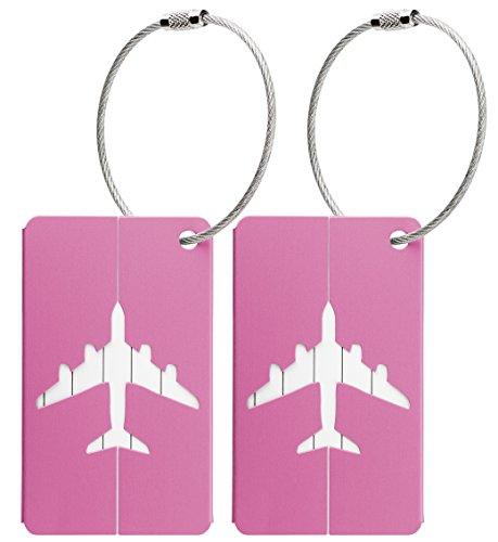 Kofferanhänger aus Metall mit Namensschild und Flug-Motiv 2 Stück (Pink metallic)