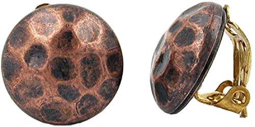 Unbespielt Modeschmuck Damen Schmuck Ohrschmuck Ohrringe Ohrclip kupfer antik gehämmert 16 mm