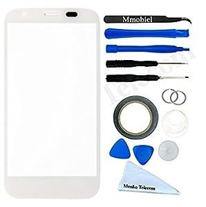 Front Glas für Motorola Moto G3 Series Schwarz Display Touchscreen Frontglas mit 12 tlg. Werkzeug-Set / passgenauem PreCut Sticker / Pinzette / Rolle 2mm Klebeband / Saugnapf / Draht / Mikrofasertuch MMOBIEL