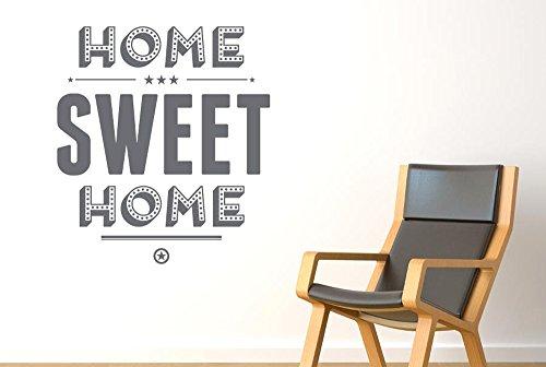 Home Sweet Home Show Case Stickers Muraux Vinyle Décor Pochoirs Murals - Moyen (Hauteur 57cm x Longueur 50cm) Gris