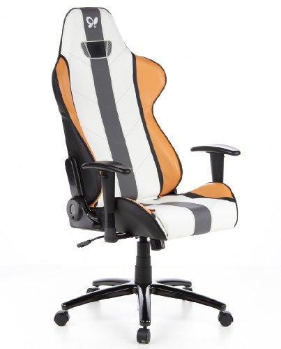 hjh Office Siège Gaming / Siège de Bureau Hockenheim - Assise Sport - Simili Cuir Orange / Blanc