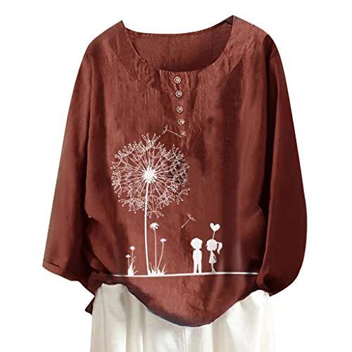 ❤Inawayls❤ Tops Damen Große Größen Lose Casual Bluse Damen Hemd Oberteile Ladies Langarm T-Shirt Top Tunika Elegant Langarmshirt Oversize mit Knopf