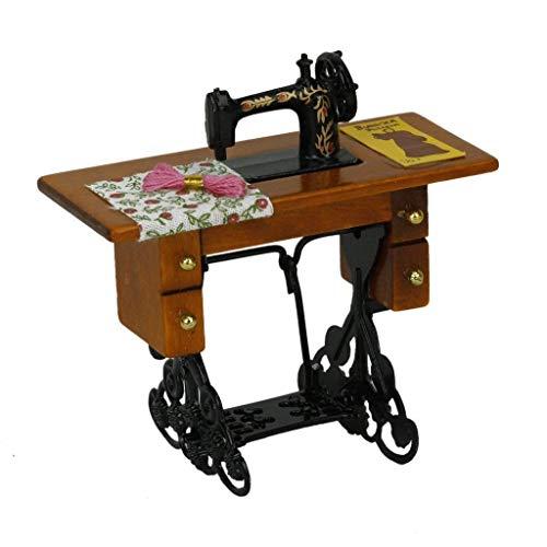 SODIAL Vintage macchina per cucire miniatura con il panno per la decorazione casa delle bambole scala 1/12