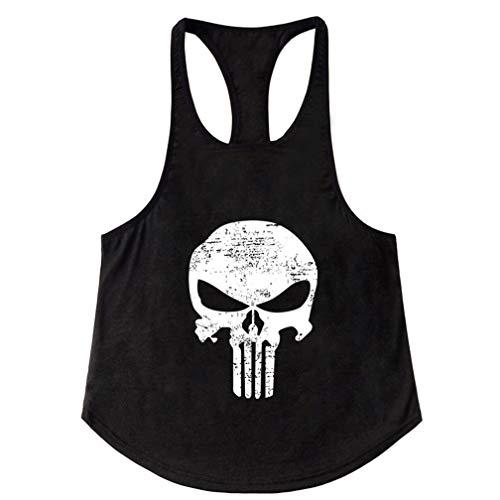 Befox Herren Cotton Fitness Gym Shirt Men Stringer Tank Top Skull Totenkopf Weste Muscleshirt Print Sport Vest