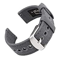 Archer Watch Straps - Canvas Quick Release Replacement Watch Bands | Multiple Colors, 18mm, 20mm, 22mm 18mm (See our diagram to measure watch) Slate Gray