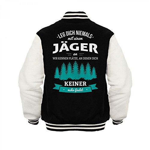 Fashionalarm Herren College Jacke - Leg Dich Niemals mit Einem Jäger an | Varsity Baseball Jacket | Sweatjacke als Geschenk Idee Beruf, Farbe:schwarz/weiß;Größe:3XL