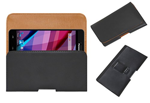 ACM Belt Holster Case for Panasonic Eluga Icon 2 Mobile Leather Cover Magnetic Closure Clip Black