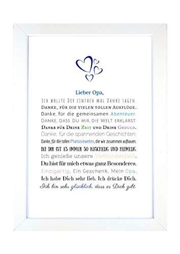 Danke Opa - Danksagung für Opa Bild optional mit Rahmen - Geschenk Geschenkidee Geburtstag Opa Kunstdruck DIN A4