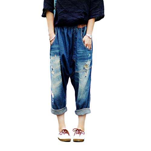 YuanDian Donna Baggy Pantaloni Harem Jeans Cavallo Basso Loose Fit alla Turca Stile Aladino Hippie Casuale Oversized Ricamo Larghi Denim Turca Hippy Pantaloni 3# Bleu Foncé