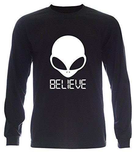 PALLAS Unisex's Alien UFO Believe T-Shirt Black Long Sleeve