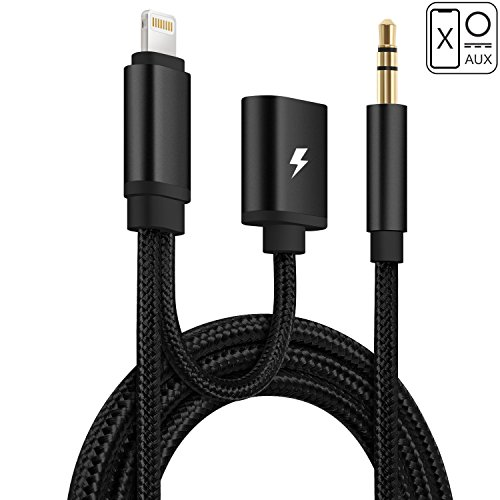 iPhone 8 AUX Kabel, huirid Lightning auf 3,5 mm Auto AUX Kabel mit iPhone Ladekabel Adapter Kordel für iPhone 8 iPhone 8 Plus, iPhone X, iPhone 7 iPhone 7 Plus, iPhone 6 6 PLUS 6S (Stereo-lautsprecher-adapter-schnüre)