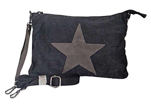 angesagte kleine Canvas Teenager Tasche Umhaengetasche mit Stern aus Leder, schwarz 5611