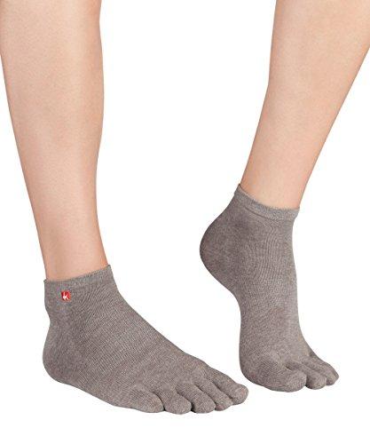 Knitido Track & Trail Ultralite Fresh Seasons | dünne und kurze Zehensocken für Sport und Freizeit, geeignet für Zehenschuhe, Größe:39-42, Farbe:Silbergrau