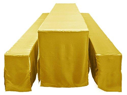 Bierbankhusse gold 50cm Bierzeltgarnitur im 3er Set glänzend