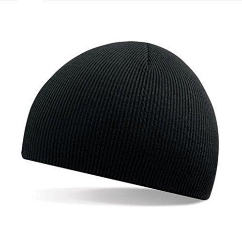 Malloom® Hombres Mujeres universal Invierno Unisex Beanie cúpula Sombrero Slouchy Baggy tejer Gorra de esquí (negro)