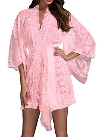 FemPool Women Sheer Crochet Lace Tie Waist Stretchy Kimonos Nightwear Pink L