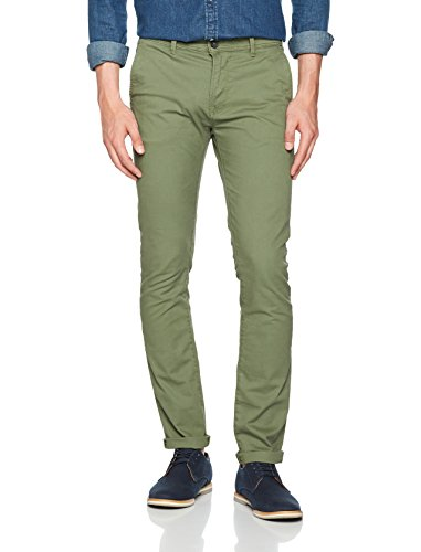 Tom Tailor Skinny Chino Solid with Belt, Pantaloni Uomo Verde (Oak Leaf Green 7512)