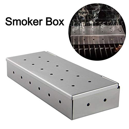 Smokerbox Räucherbox Edelstahl Grillzubehör 12 Löcher Falten Tragbar Picknick-Box Für Gasgrill Räuchern Von Fleisch Fisch-22.5 X9.2 X 4cm