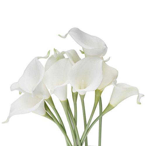Vlunt 10 x Calla Kunstblumen Kuenstliche Blumen Kunstpflanze weiss