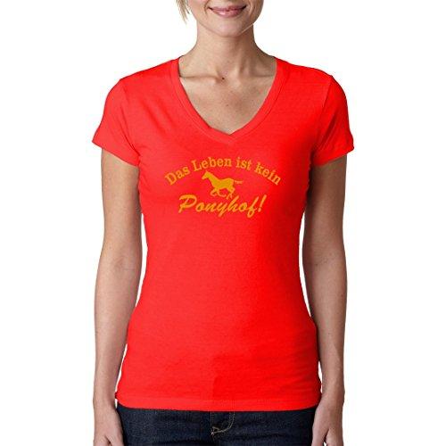 Fun Sprüche Girlie V-Neck Shirt - Spruch: Leben ist kein Ponyhof by Im-Shirt Rot