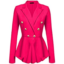 Chaqueta De Traje Mujer Elegantes Moda Slim Fit Fiesta Blazer Manga Larga  De Solapa Con Botones Oficina Negocios ... 3bb687e2c05d
