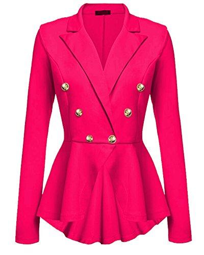 Kasen Abrigo Mujer Blazer Americana Traje Slim Chaqueta del Traje OL Mujeres Botón de Metal Rosa S