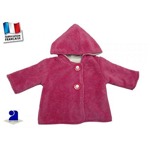 Poussin bleu - Manteau à capuche 6 mois, polaire à poils longs, rose Couleur - Rose, Taille - 67 cm 6 mois