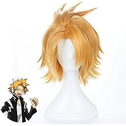 Ani·Lnc Peluca de Anime Cosplay peluca corta disfraces de Halloween Hero peluca (rubia dorada