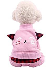 Ropa para Mascotas,Gusspower Ropa de Abrigo Invierno Suéter Cuello Alto Sudadera Chaqueta elástica con Cara Sonriente y Orejas cálido cómodo Traje para Mascotas Gato Perro