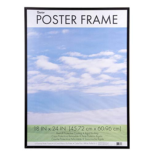 Coloredge Poster Frame, Clear Plastic Window, 18 x 24, Black, Sold as 1 Each