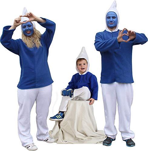 Blauer Zwerg 2-TLG mit Kapuze Plüsch für Kinder und Erwachsene Zwergen-Kostüm blau weiß (XX-Large) (Sieben Zwerge Kostüm Frauen)