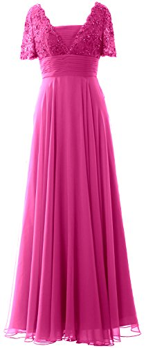 MACloth Women Short Sleeves Mother of the Bride Dress Lace Formal Evening Gown Fuchsia