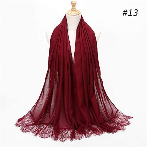 Hmeili Schals Damen Spitze Kanten Schöne Hijabs Schals Frauen Plain/Solid Weichen Viskose Head Scarf Oversize Schalldämpfer Schal -
